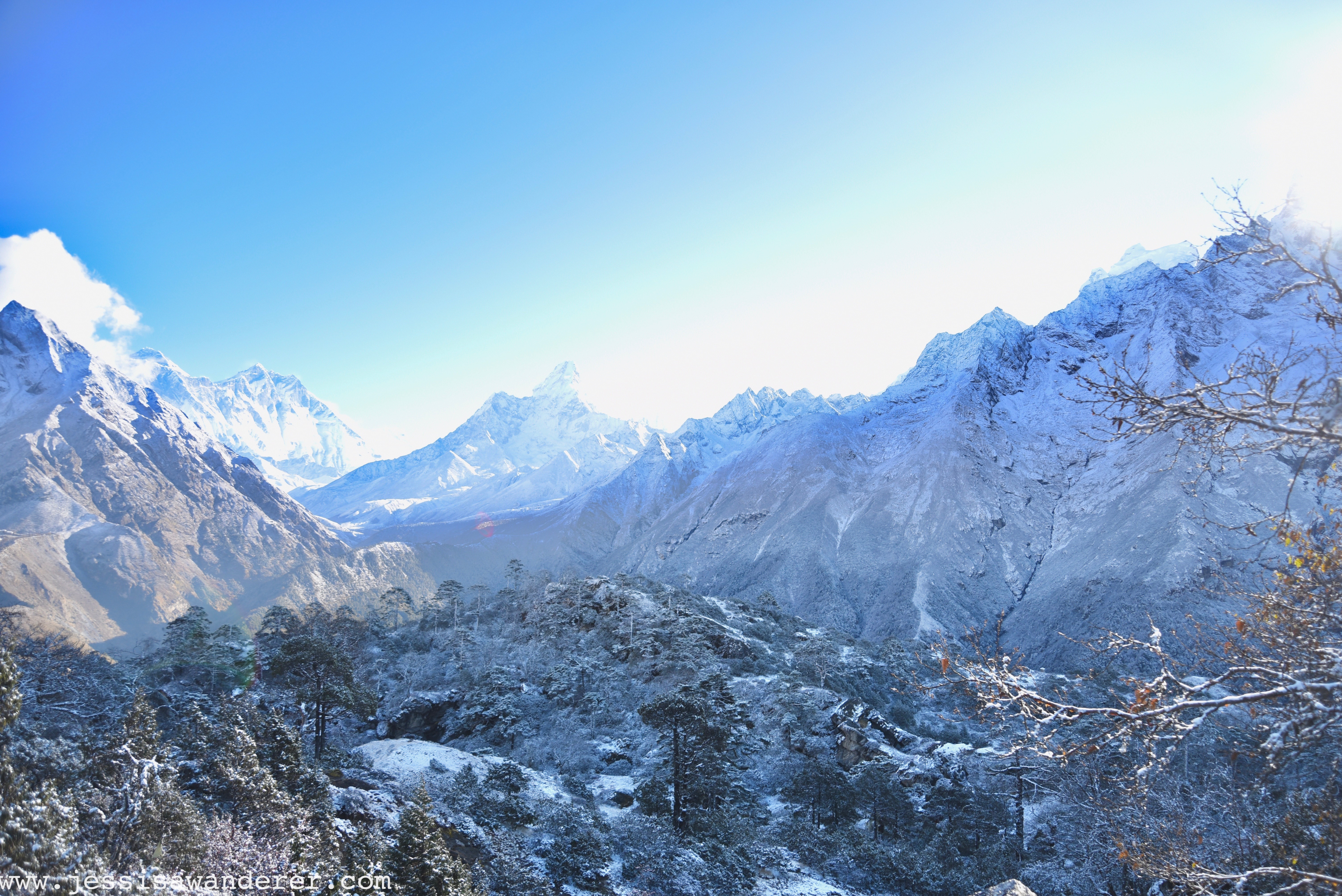 Looking out to Everest