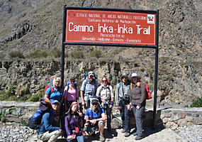 Group in front of sign on the Inca Trail