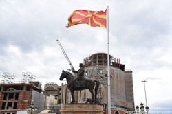 Statue and Flag