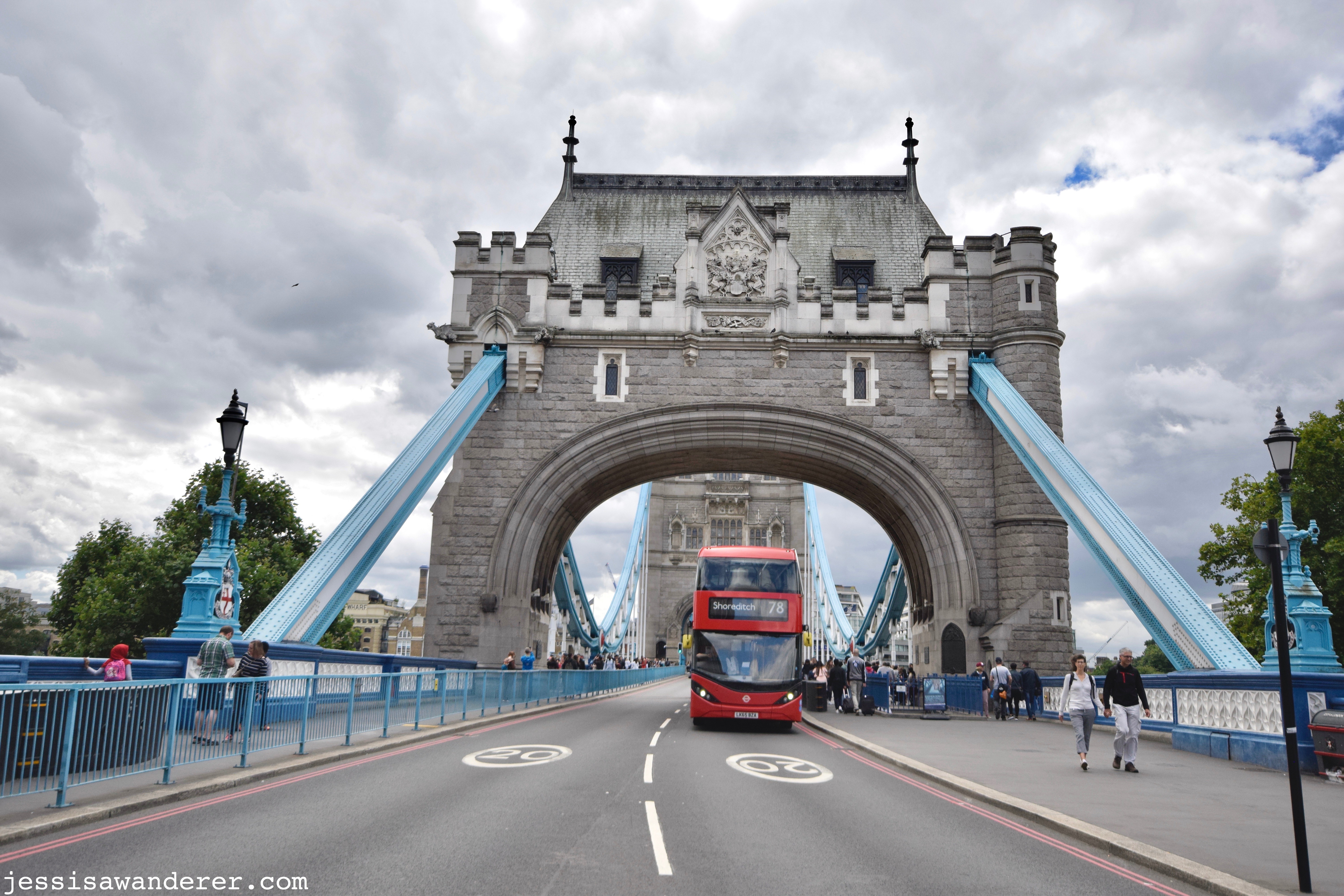 Red Bus on Tower Bridge