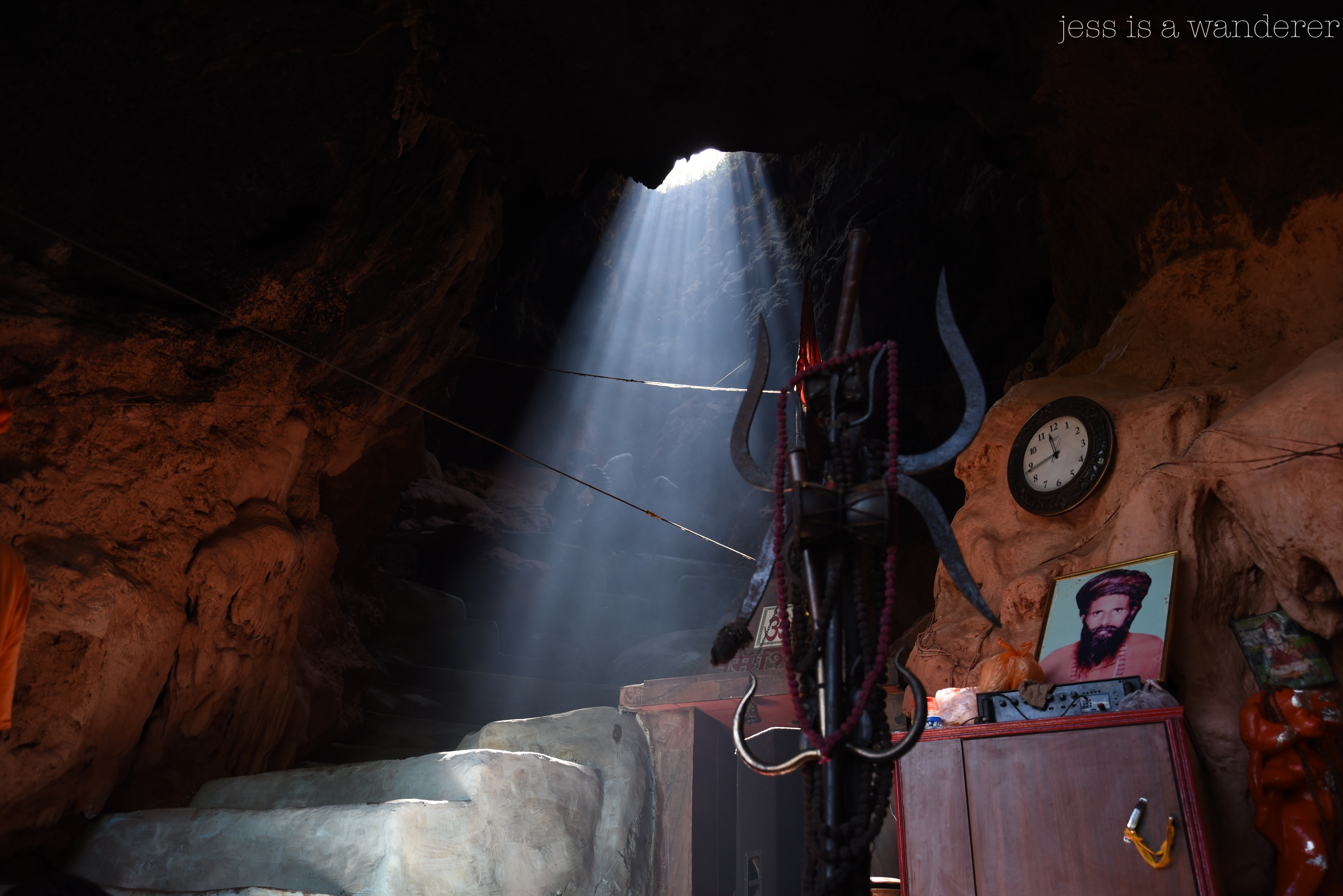 Light shaft in a cave, Rishikesh