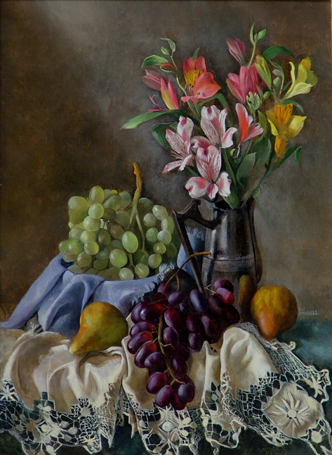 White Tablecloth with Grapes