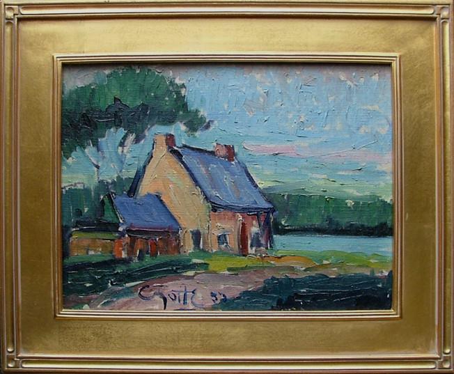 """Léo Ayotte, St-Chris, huile, 1953, 16"""" x 12"""", encadré"""