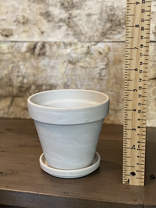 """clay pot with saucer granite 4.5"""""""
