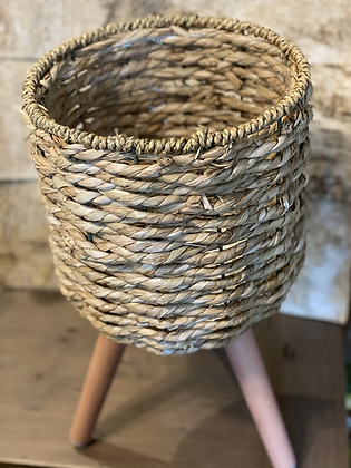 """basket planter on wooden stand 8.5"""""""