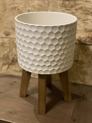 """white ceramic pot on wooden stand 7"""""""
