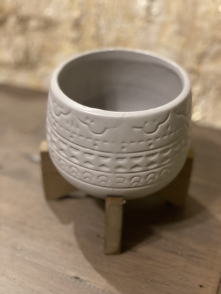 """grey ceramic pot on wooden stand 3.5"""""""