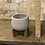 """Thumbnail: grey ceramic pot on wooden stand 3.5"""""""