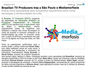Brazilian TV Producer traz a São Paulo o Mediamorfosis