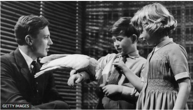 David Attenburgh (50's) mostra uma cacatua para o príncipe Charles e sua irmã princesa Anne - É conosco