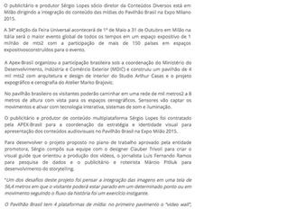 Conteúdos diversos integram plataformas de mídia no Pavilhão Brasil da Feira Universal Expo Milano 2