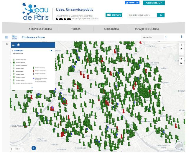 L'eau de Paris - mapa dos locais de fontes na cidade - É conosco