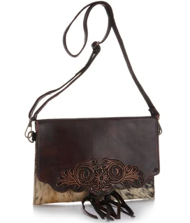 American Darling Cowhide and Chocolate Brown Leather Tooled Crossbody Bag