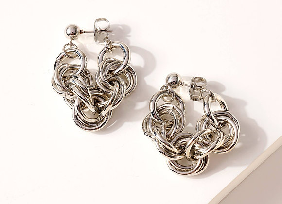 Metal chain linked hoop earrings