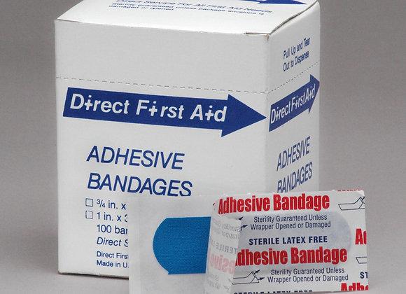 """1"""" x 3"""" inch Strip Bandage, 100ct, Blue"""