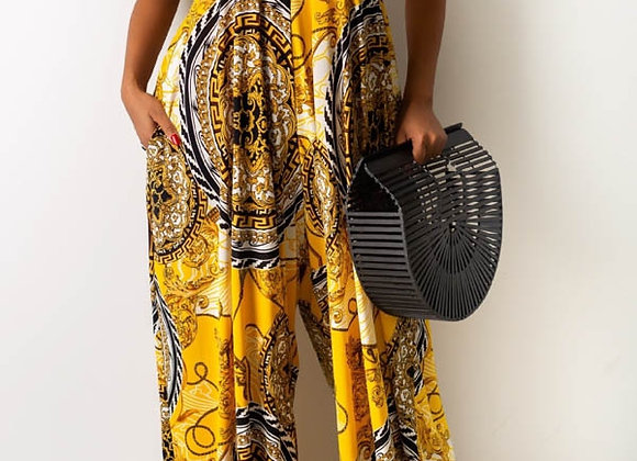 Yellow Sleeveless, Backless  Printed Jumpsuit