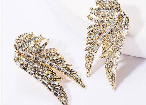 Gold Swarovski Crystal Wing Earrings
