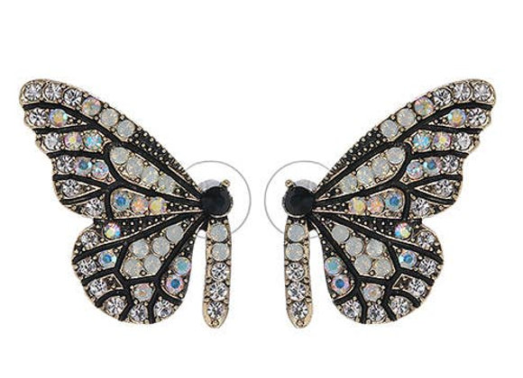 Sasha Clear Swarovski Half Butterfly Earrings