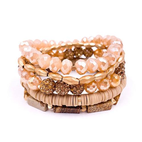 Peach and Gold Bracelet Set