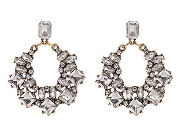 Silver Morgan Swarovski Jeweled Art Deco Earrings