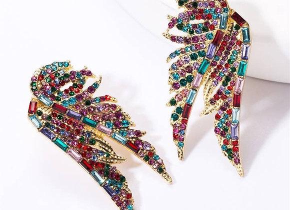 Rainbow Swarovski Crystal Wing Earrings