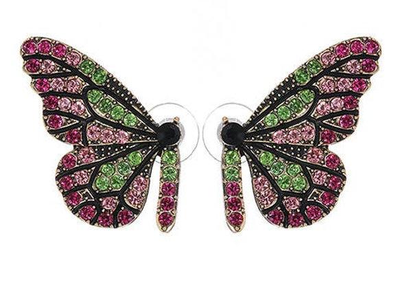 Sasha Pink & Green Swarovski Half Butterfly Earrings