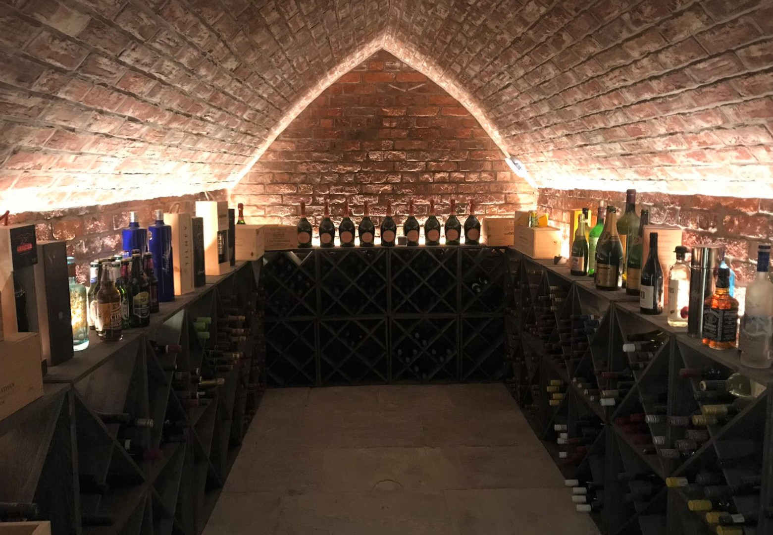 Installation of LED lighting in a wine cellar in Altrincham.