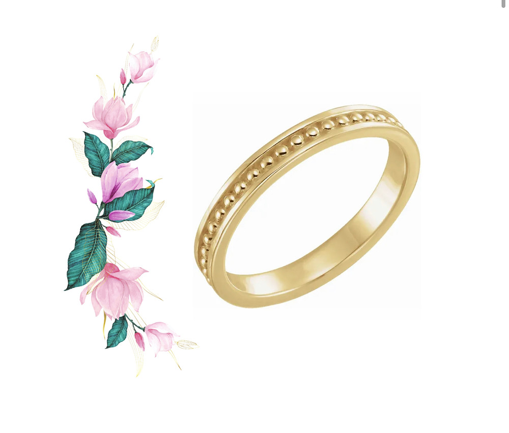 14k Yellow Gold Stackable Band Ancient Inspired with Granulation
