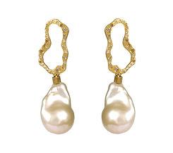 Baroque Drop Pearls and Diamond Earrings