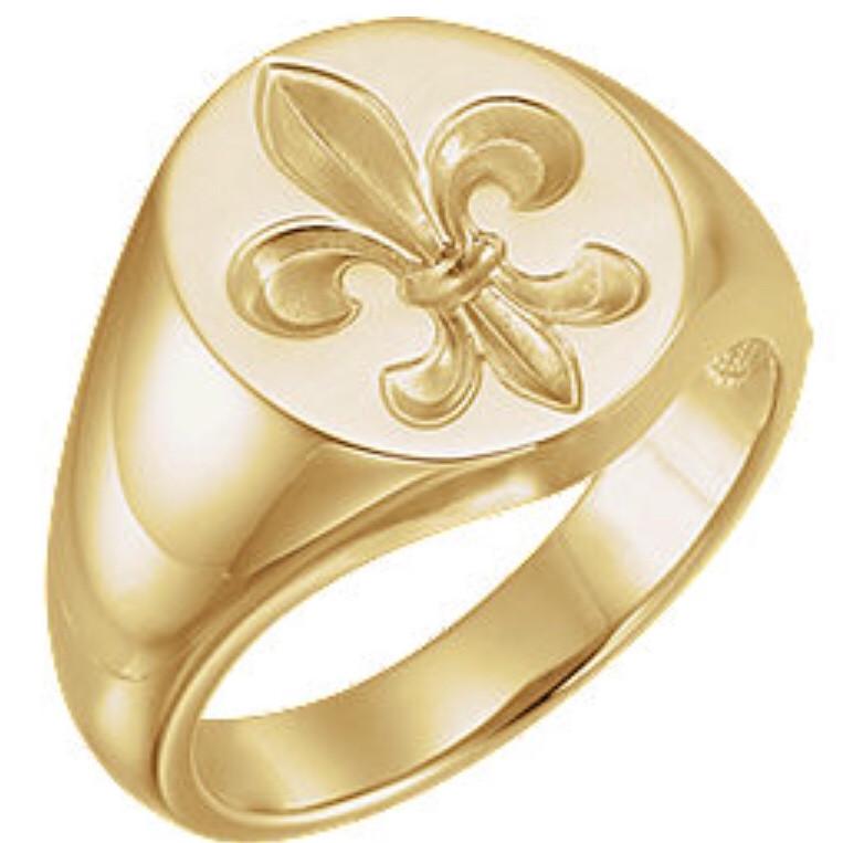 signet ring fleur de list gold french custom jewelry