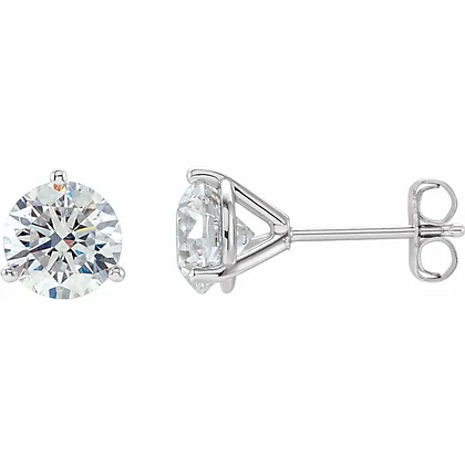 Round Diamond Three-Prong Stud Earrings