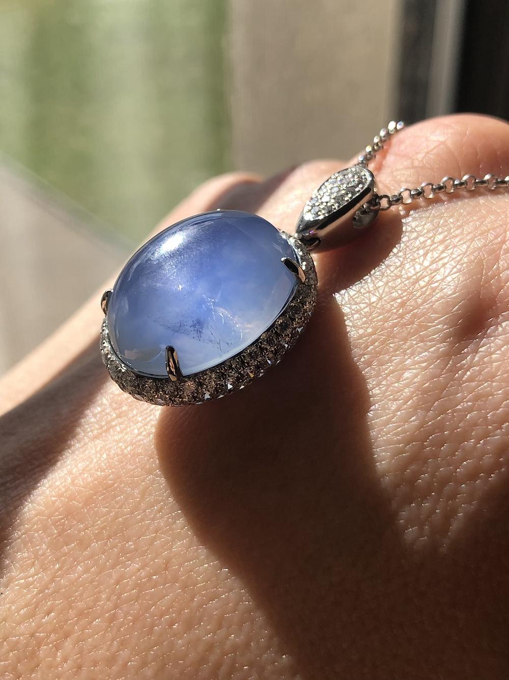star sapphire, diamonds, asterism, transparent, necklace, custom design, custom jewelry, bespoke design, necklace, pendant