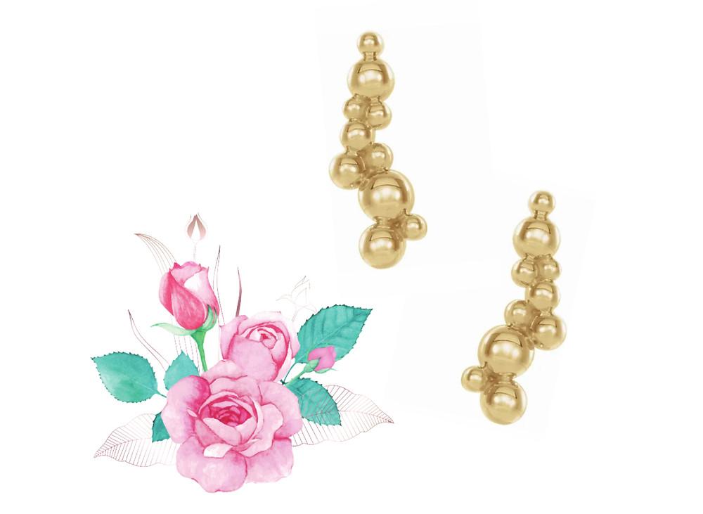 14k Yellow Gold Bubble Climber Stud Earrings