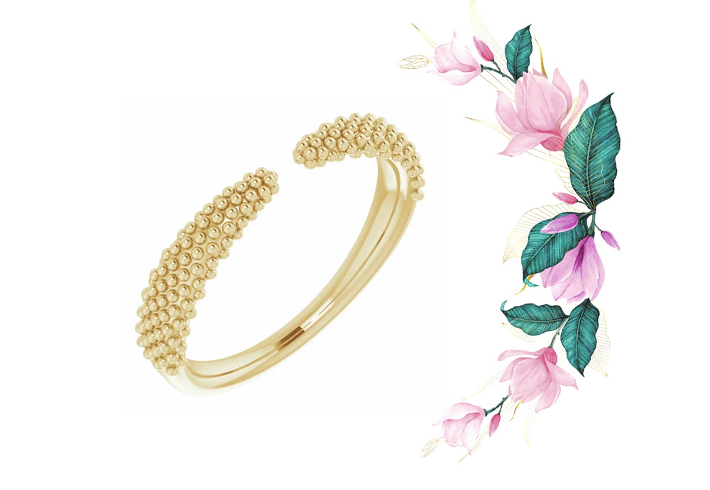 14k Yellow Gold Beaded Granulation Open Negative Space Graduated Ring