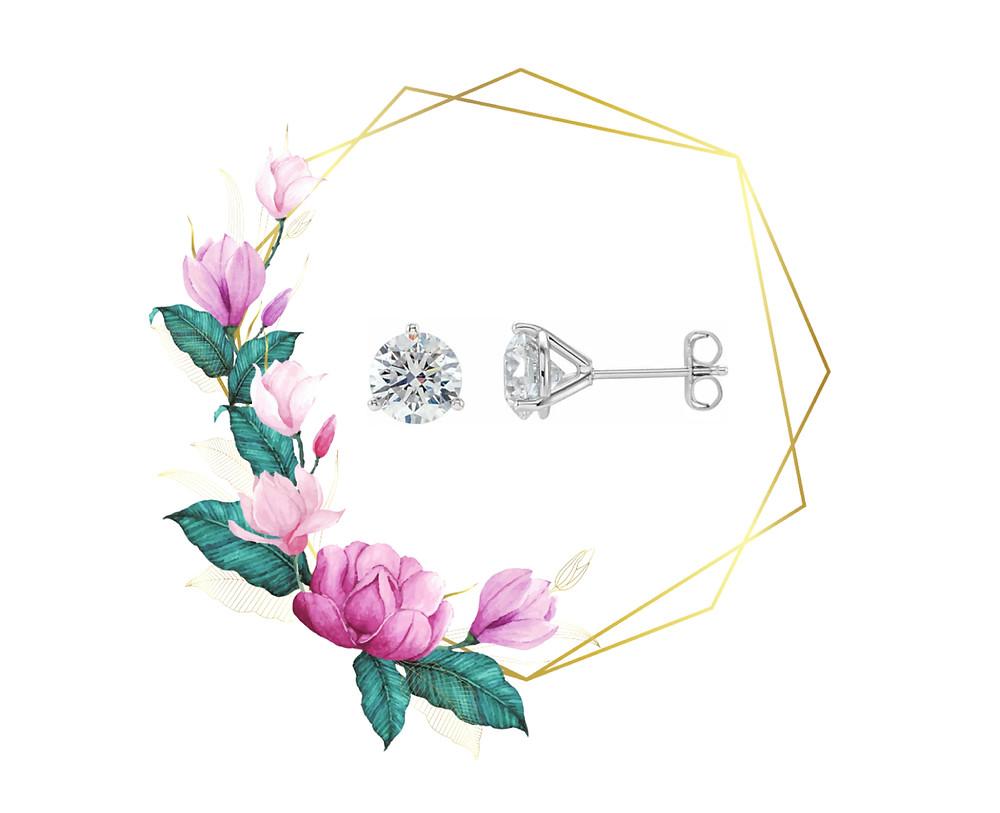 14k White Gold Classic Round Diamond Stud Earrings Three Prong Martini Setting Post