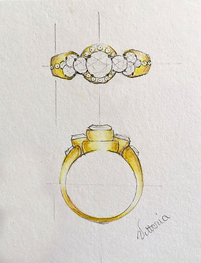 custom diamond and yellow gold ring sketch