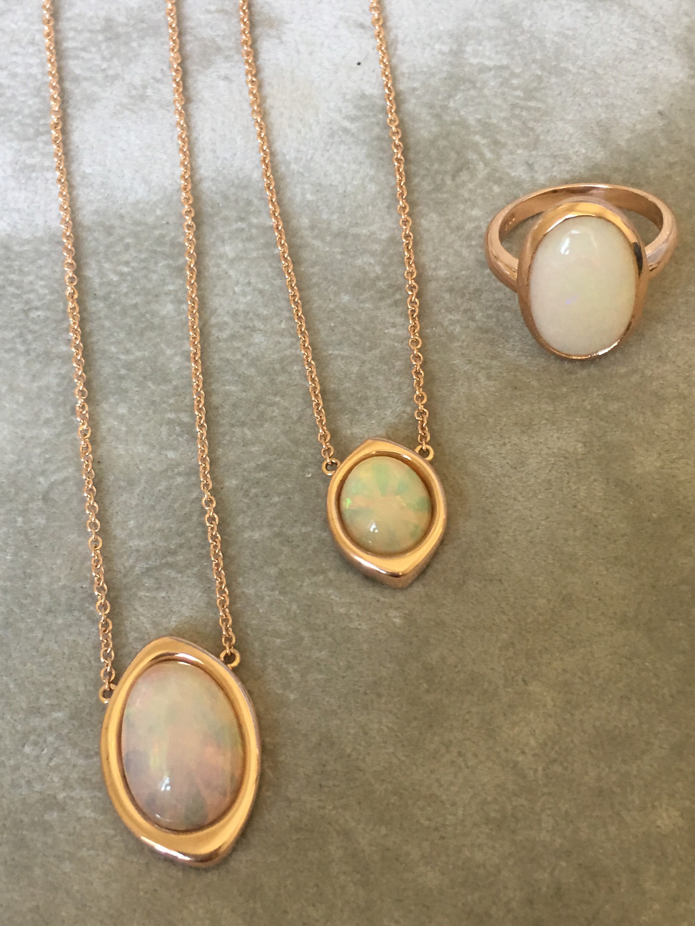 Custom opal pendants and ring made in rose gold