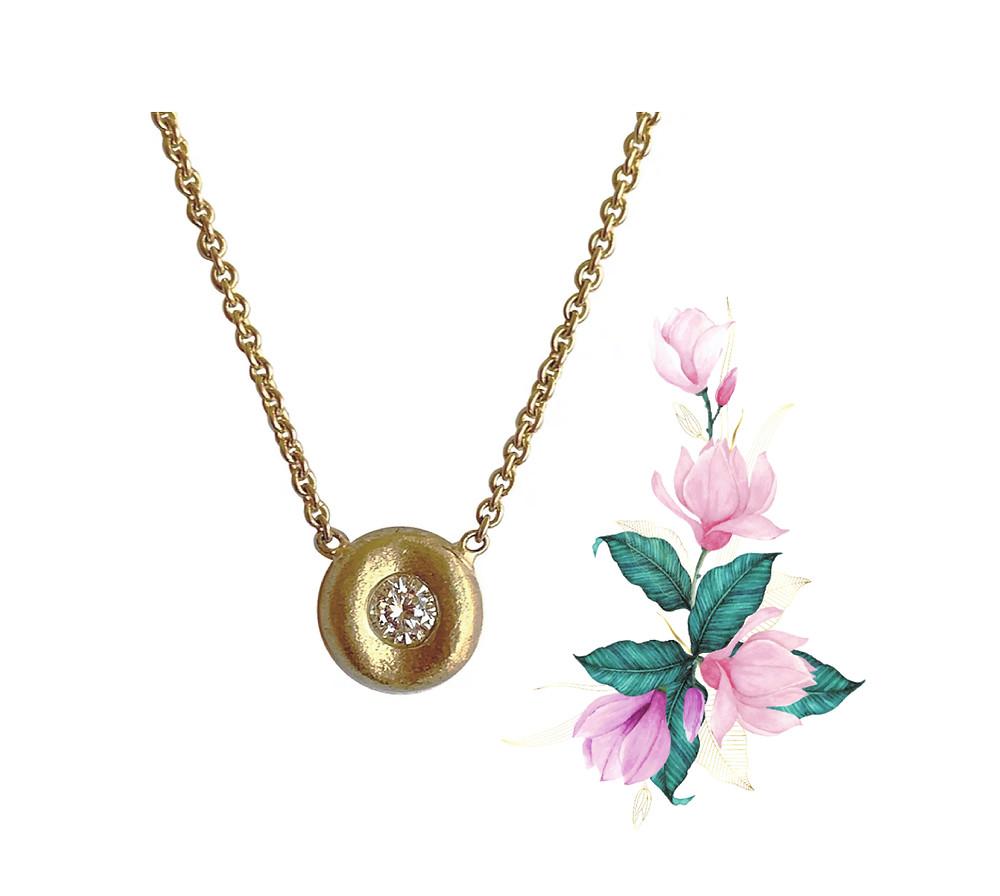 18k Yellow Gold Bezel Set Round Diamond Necklace