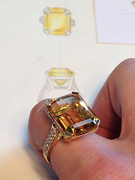 Yellow gold and diamond citrine ring sketch