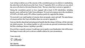 Restructure of the school day outcome letter
