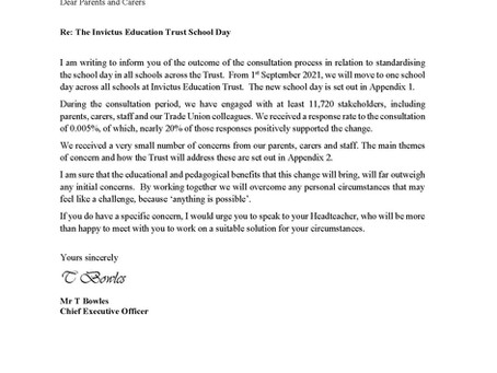 Restructure of the School day letter