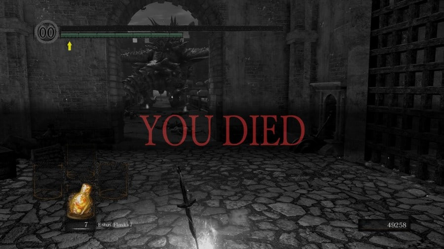 """Dark Souls game over screen, reading """"YOU DIED"""""""