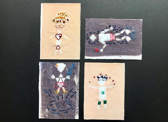 "Carte postale ""Monsieur Madame"" sérigraphiée et brodée"