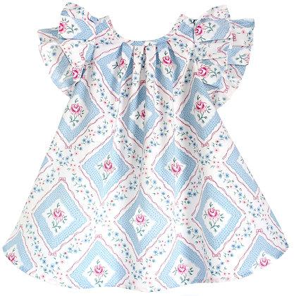 Kids 4y: Pleated Flutter Dress - Rose Trellis