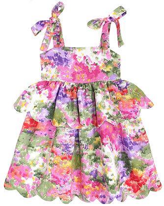 Kids 6y: Scallop Peplum Petal Dress - Impressionist Garden