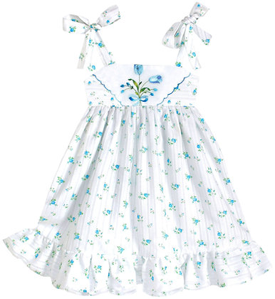 Kids 2T: Dimity Floral Dress - Blue Rosebud