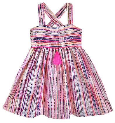 Metallic Woven Textile Dress