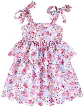 Kids 6y: Scallop Peplum Petal Dress - Lavender & Pink Azaleas