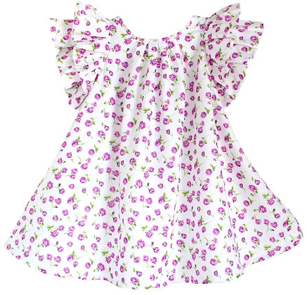 Kids 6y: Pleated Flutter Dress - Magenta Rosebud
