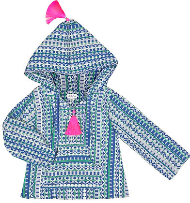 Indigo Woven Textile Hoodie